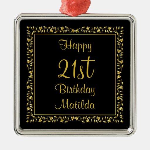 Negro y cumpleaños floral del oro 21ro adorno navideño cuadrado de metal