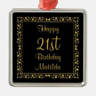 Negro y cumpleaños floral del oro 21ro adorno cuadrado plateado