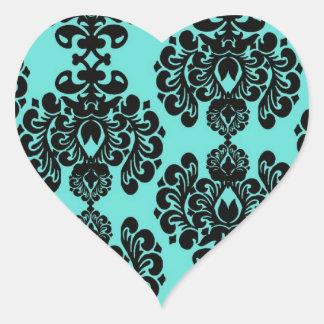 negro y damasco azul adornado precioso de la aguam calcomanía de corazón personalizadas