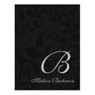 Negro y damasco con monograma de la plata tarjetas postales