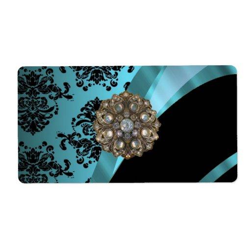 Negro y damasco del aquamarine etiqueta de envío
