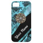 Negro y damasco del aquamarine iPhone 5 Case-Mate cárcasas
