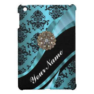 Negro y damasco del aquamarine iPad mini funda