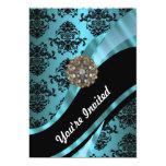 Negro y damasco del aquamarine invitación 12,7 x 17,8 cm