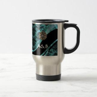 Negro y damasco del aquamarine tazas de café
