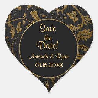 Negro y damasco del oro - ahorre la fecha - calcomanía corazón personalizadas