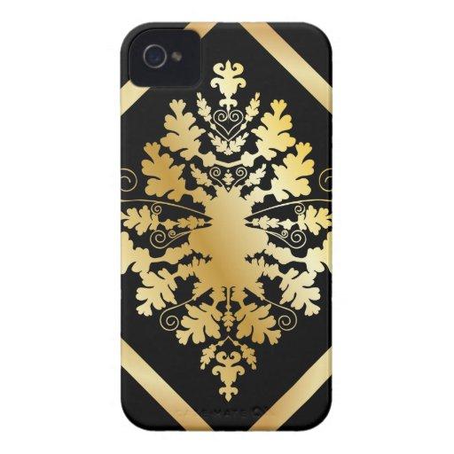Negro y damasco del oro iPhone 4 protectores