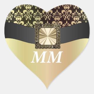Negro y damasco del oro pegatina en forma de corazón