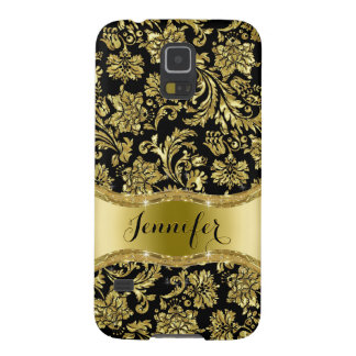 Negro y damasco floral metálico del oro funda para galaxy s5