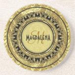Negro y Damasco-Monograma floral del vintage del o Posavasos Personalizados