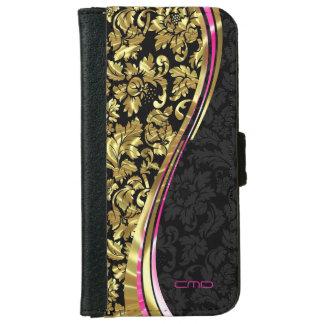 Negro y damascos femeninos florales del oro