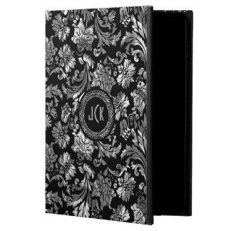 Negro y damascos florales de la plata metalizada