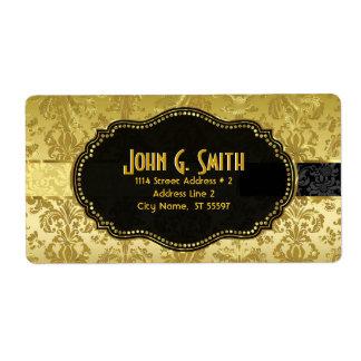 Negro y damascos florales del vintage del oro etiqueta de envío
