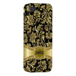 Negro y damascos florales del vintage del oro iPhone 4 fundas