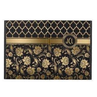 Negro y damascos florales y Quatrefoil del oro