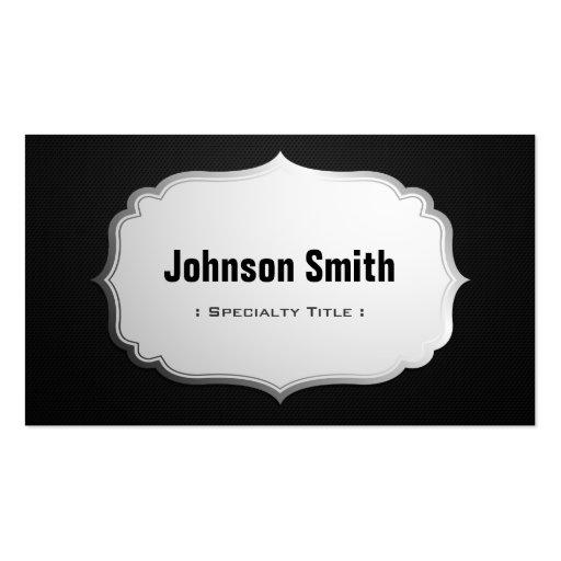 Negro y de plata superiores - etiqueta de acero de tarjetas de visita