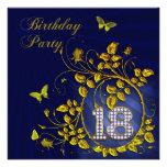 Negro y décimo octava fiesta de cumpleaños del oro anuncios