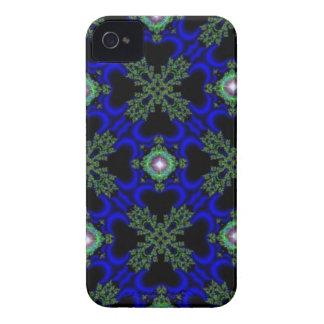 Negro y. Deco de especie en Retro Style verde azul iPhone 4 Case-Mate Carcasa