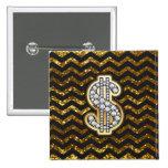 Negro y diamante de Chevron del oro y muestra de Pin Cuadrado