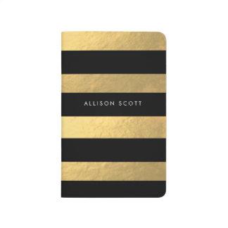 Negro y diario personalizado oro cuaderno grapado