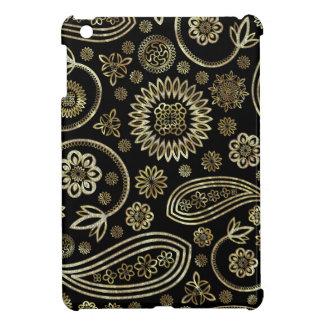 Negro y diseño de Paisley del vintage del oro