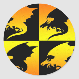Negro y dragones del oro pegatinas redondas