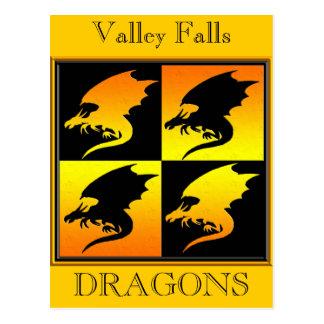 Negro y dragones del oro tarjetas postales