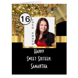 Negro y dulce bling dieciséis del oro tarjeta de felicitación grande