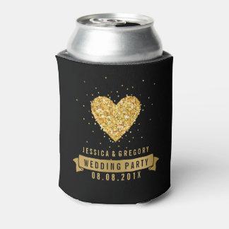 Negro y ejemplo del corazón del brillo del oro enfriador de latas