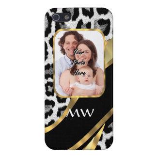 Negro y estampado leopardo del oro iPhone 5 protector