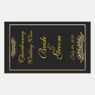 Negro y etiqueta autoadhesiva del vino del boda