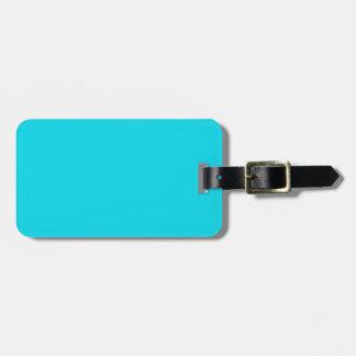 Negro y etiqueta azul del equipaje de la aguamarin etiquetas maleta