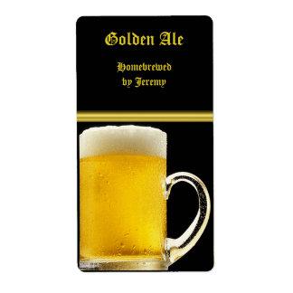 Negro y etiqueta de la cerveza del oro etiquetas de envío