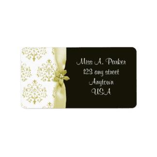 Negro y etiqueta del boda del damasco del oro etiquetas de dirección