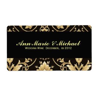 Negro y etiqueta del vino del boda del oro etiquetas de envío