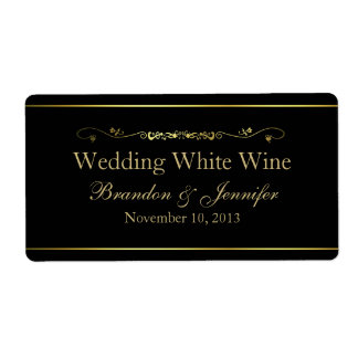 Negro y etiquetas del vino del boda de encargo del etiquetas de envío