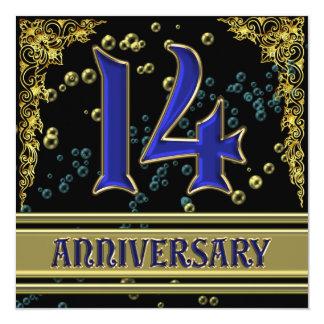 Negro y fiesta de aniversario del oro 14ta comunicado personalizado