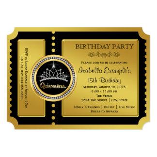 Negro y fiesta de cumpleaños de Quinceanera del Invitación 12,7 X 17,8 Cm