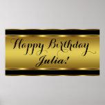Negro y fiesta de cumpleaños del oro impresiones