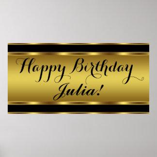 Negro y fiesta de cumpleaños del oro póster