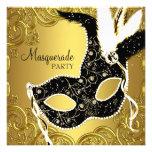 Negro y fiesta de la mascarada de la máscara del o invitacion personalizada