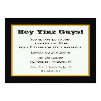 """Negro y fiesta de Yinz del estilo de Pittsburgh Invitación 5"""" X 7"""""""