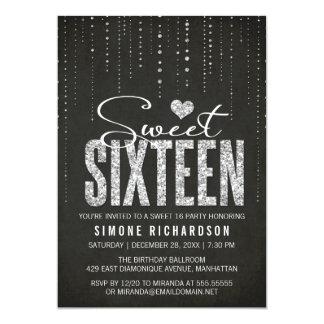 """Negro y fiesta del dulce 16 de la mirada del invitación 5"""" x 7"""""""