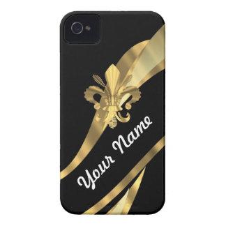 Negro y flor de lis del oro Case-Mate iPhone 4 carcasa