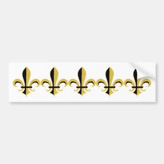 Negro y flor de lis del oro etiqueta de parachoque