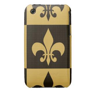 Negro y flor de lis del oro iPhone 3 protectores