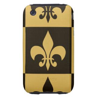Negro y flor de lis del oro tough iPhone 3 coberturas