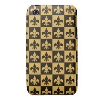 Negro y flor de lis del oro iPhone 3 carcasa