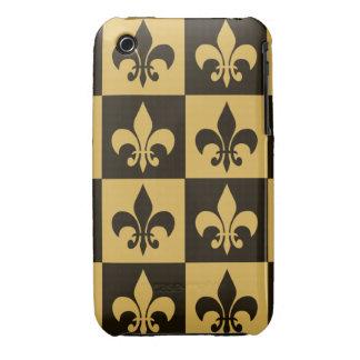 Negro y flor de lis del oro iPhone 3 cárcasas