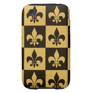 Negro y flor de lis del oro iPhone 3 tough protector